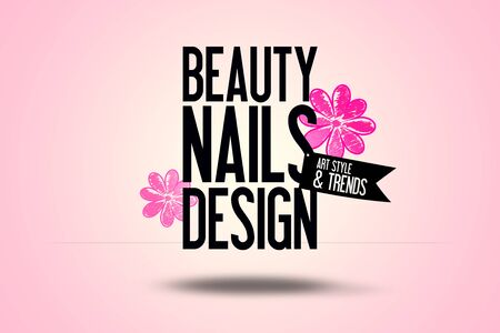 tip style design: White and Pink coloured Background - Beauty Nails Design Text in the Foreground - Flowers in the Background