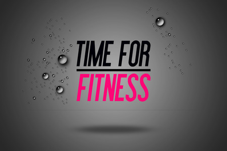 copy center: Time For Fitness - Advertisement Quotes Workout Sports - Motivation - Fitness Center - Motivational Quote - Sport Illustration - Inspirational - Card Calligraphy Art - Typography Stock Photo