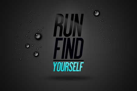 Run Find Yourself - Advertising Sport Inspiring Workout and Fitness Gym Fitness Quote Advertise Motivational Typography Poster Concept Stock fotó