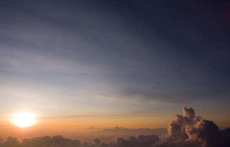 A perfect sunset from the top of Haleakala Volcano. Maui, Hawaii.