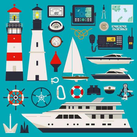 bateau voile: Infographique de l'�quipement marin y compris le balai de corde Illustration
