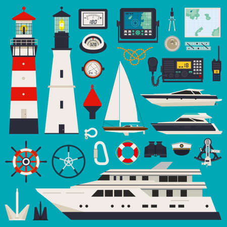 Marine equipment infographic including rope brush Ilustrace