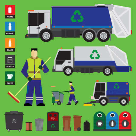 Garbage recycling set of trucks and containers Vectores