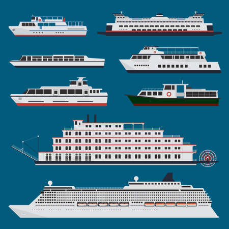 Passenger ships infographic 向量圖像