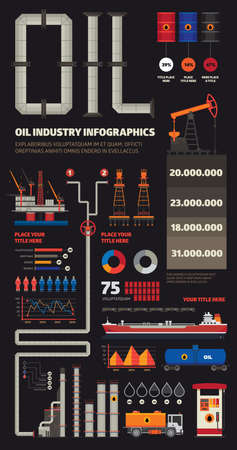 car factory: Oil industry infographics set with pipeline brush Illustration
