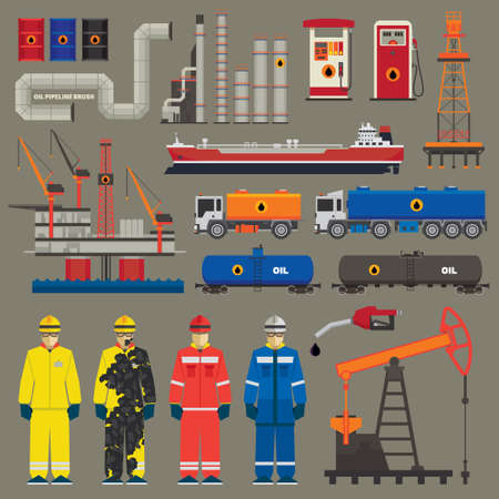 factory workers: Oil industry set with pipeline brush Illustration