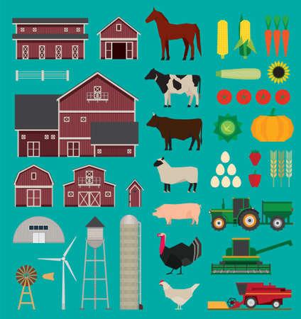 Bauernhof und Landwirtschaft Infografik Set