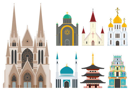 dome of hindu temple: Cathedrals and churches infographic set Illustration