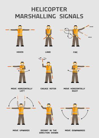 Hubschrauber Rangier- Signale Infografiken Plakat Standard-Bild - 34347778