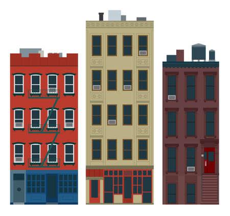 old new york: New York old manhattan houses Illustration