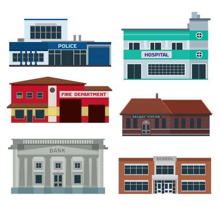 Stad afdelingen gebouwen infographic Stock Illustratie