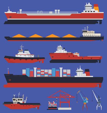 Cargo ships and tug boats