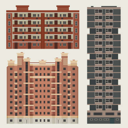 Buildings infographic set with european block of flats