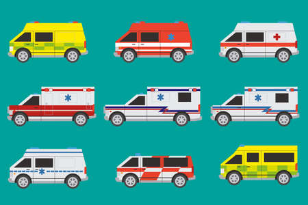 Internationale ambulance auto's met verschillende schildertechnieken Stock Illustratie