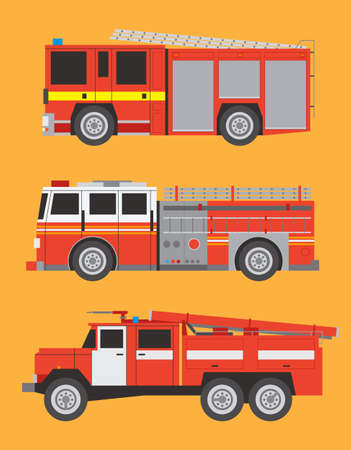 Vector international fire engines on  background