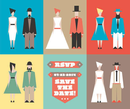 Vector beeldjes voor huwelijksuitnodigingen