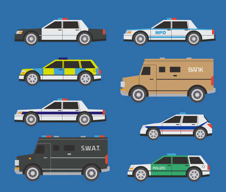 Vector international police cars, includong SWAT and bill collector trucks