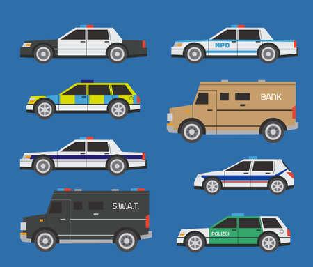 Vector internationale politie-auto's, includong SWAT en factuur verzamelaar vrachtwagens