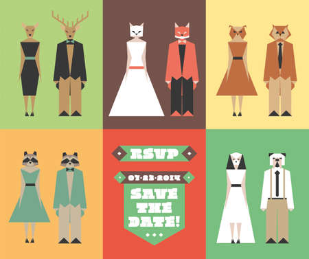 animal figurines: Vector figurines with animal heads for wedding invitations