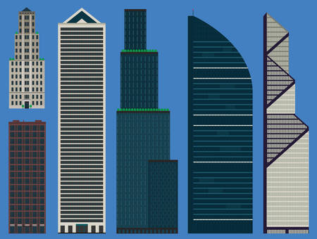 Buildings set infographic with business skyscrapers