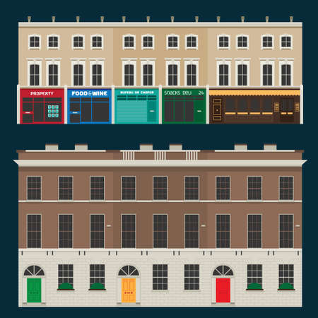 Buildings set with english terrace houses