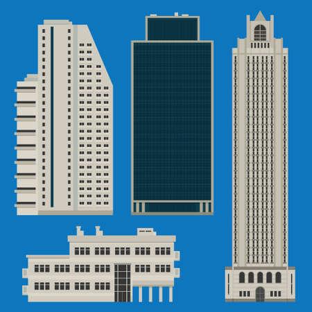 Varios edificios altos, incluyendo hoteles y centros de negocios Ilustración de vector