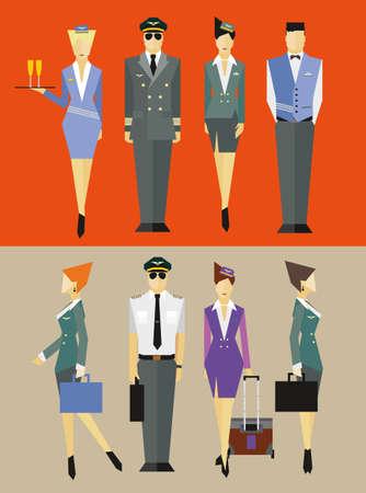 Flight team captain and attendants