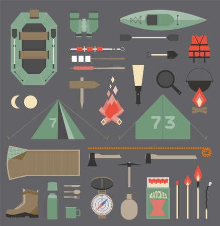 Geïsoleerde vector elementen voor reizen en kamperen infographics