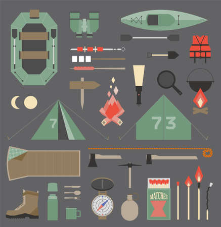 Isolated vector elements for travel and camping infographics
