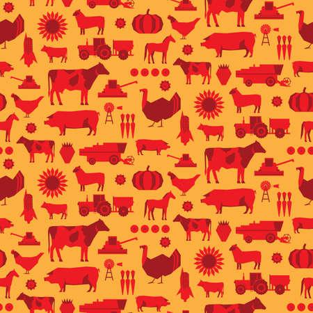 Seamless farm vector pattern