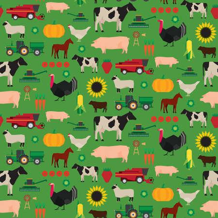 Naadloze boerderij vector patroon