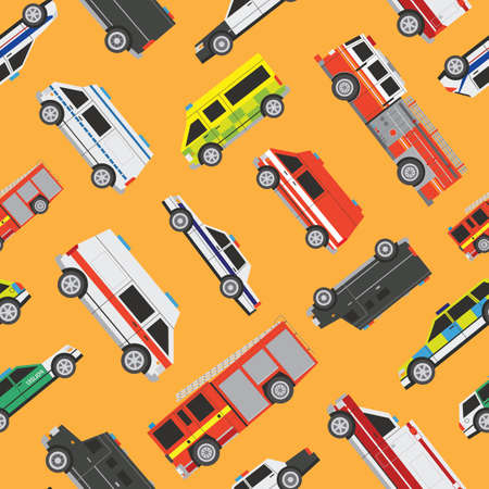 fire engine: Seamless vector service cars pattern