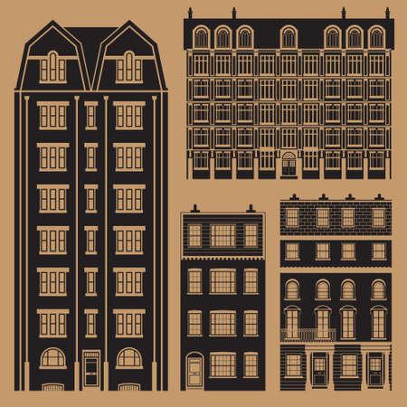 Gebouwen set met engels klassieke rijtjeshuizen - monochroom Stock Illustratie