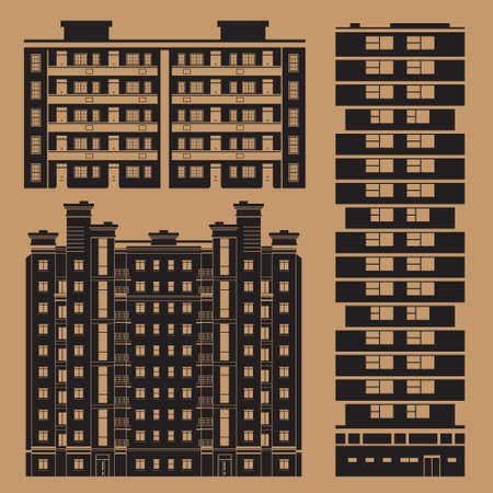 block of flats: Buildings infographic set with european block of flats