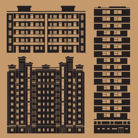 Gebouwen Infographic set met europese flatgebouw