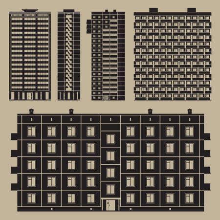 Voorkant en zijkant uitzicht van het blok huizen