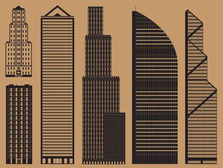 Gebouwen set infographic met business wolkenkrabbers