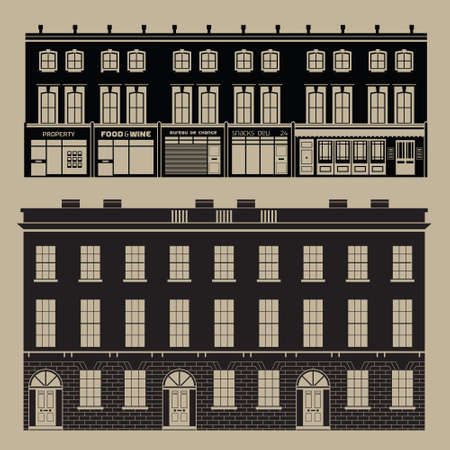 Buildings set with english terrace houses - monochrome