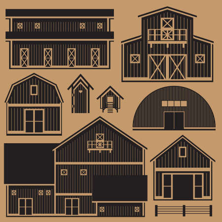 Buildings set infographic with monochrome farm buildings Vector