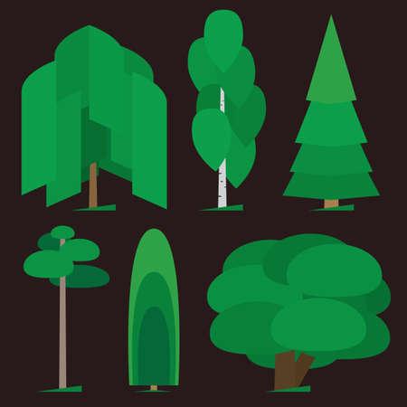 Verschillende bomen types grafische Stock Illustratie