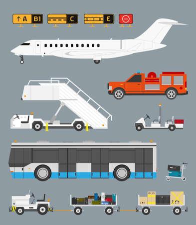 Luchthaven Set Met Bagage winkelwagen Stock Illustratie