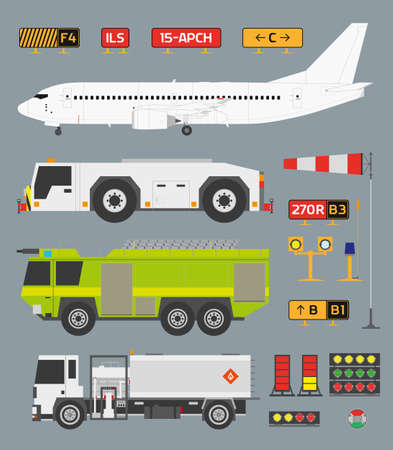 windsock: Airport infographic set with airplane, tow truck, fire engine and fuel truck