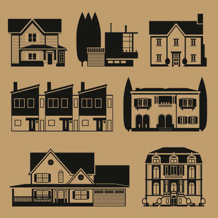 country house style: Real estate infographic set