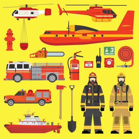 bombero de rojo: Equipamiento vehículos bomberos y fuego conjunto de recopilación brigada Vectores