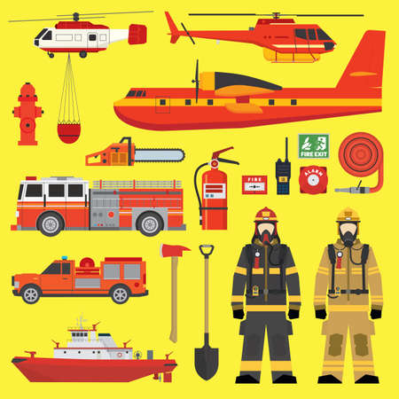 engine fire: Firefighters vehicles equipment and fire brigade collection set