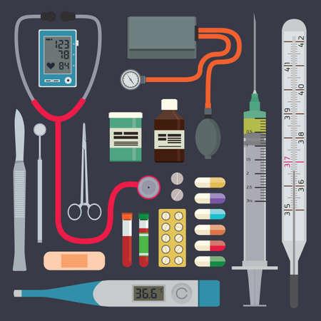 Medische instrumenten en hulpmiddelen spuit en thermometer