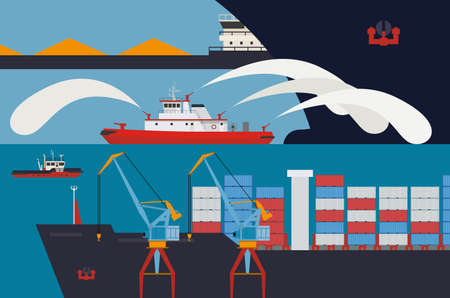 tug boat: Picture of a regular working day at the harbour. Fireboat produces water jets escorted a cargo ship on a journey. Illustration