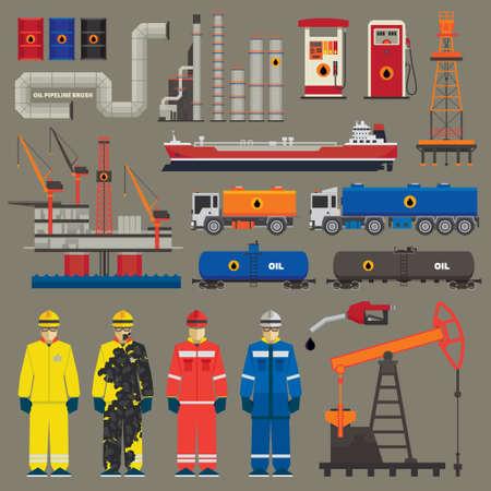 Oil industry set with pipeline brush Illustration