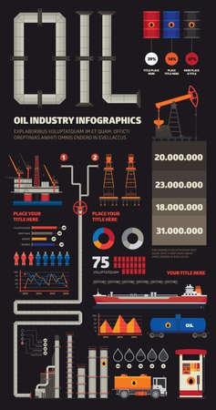 Oil industry infographics set with pipeline brush Ilustração
