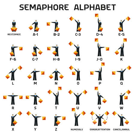 Semaphore alphabet flags on a white background in black uniform 矢量图像
